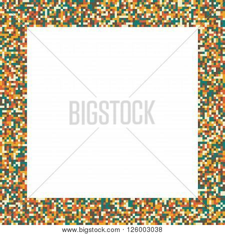 Pixel mosaic square border (frame) in retro (vintage) muted colors