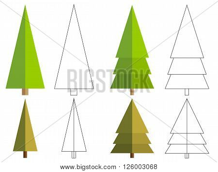 Set of 4 isolated flat conifer tree + 4 isolated outline version for your coloration