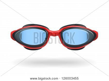 Glasses for swimming. Red swimming glasses whith lightblue glass. Vector illustration.