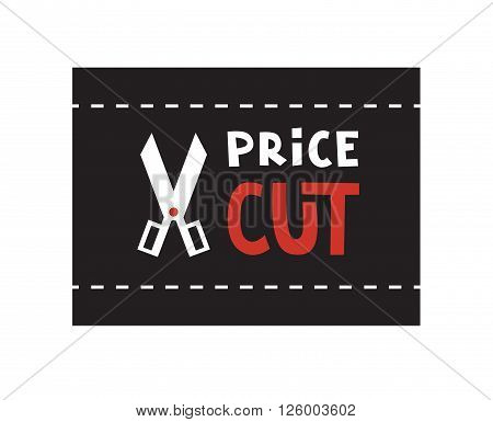 Scissors and Price cut logo. Vector illustration.
