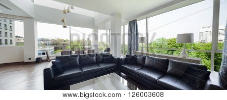 Open Plan Living Room Of A Luxury Duplex Apartment.panorama