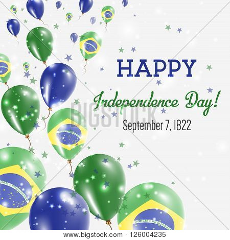 Brazil Independence Day Greeting Card. Flying Balloons In Brazil National Colors. Happy Independence