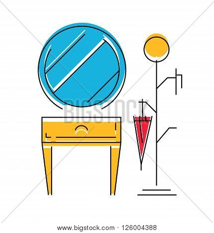 Icon of Hall room interior. Modern furniture for hall. Vector illustration.