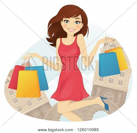 Happy girl with shopping bags on the street