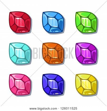 Funny cartoon colorful gems set, vector GUI assets, isolated on white
