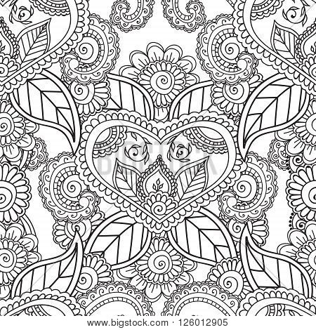 Coloring pages for adults. Seamless pattern.Henna Mehndi Doodles, abstract Floral Paisley Design Elements, Mandala, Vector Illustration. Coloring book.