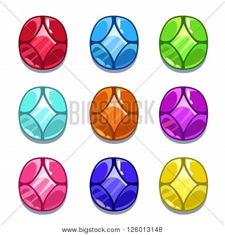 Funny cartoon colorful gems set, oval shape vector GUI assets, isolated on white