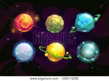 Elemental planets, fantasy space set, vector illustration