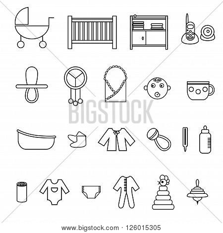 Outline flat web icon set. Baby equpment toys feeding and care