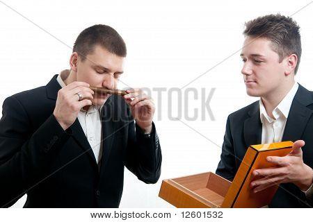 Young Businessmen Cigar