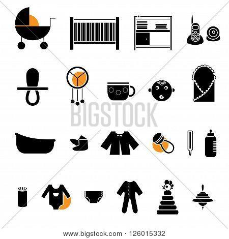 Flat web icon set. Baby equpment toys feeding and care