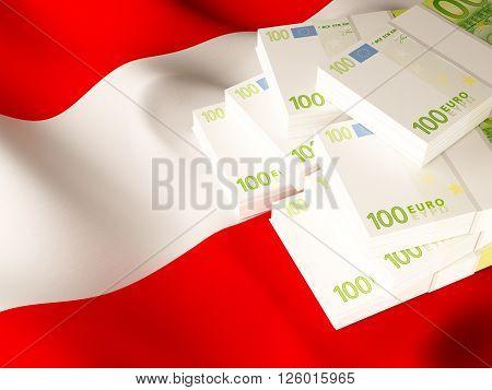 Euro banknote bundles on textile textured Austria flag. 3d rendering.