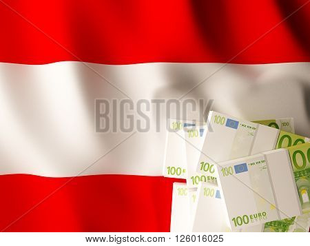 Euro banknote bundles on textile textured Austrian flag. 3d rendering.