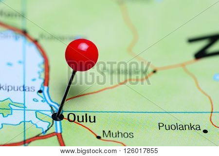 Oulu pinned on a map of Finland poster