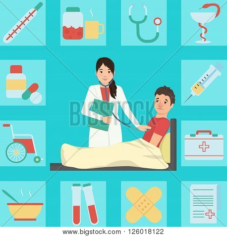 Medical illustration of a lady doctor examining patient with flue and fever who cought cold. Bonus: corresponding icon set. Flat minimalistic style.
