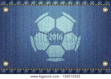 Soccer ball on blue jeans background. 2016 championship text and soccer ball on blue denim as a cool vector illustration.