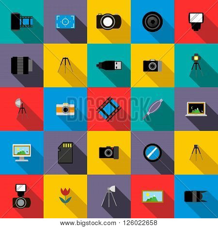Photo studio equipment icons set use for any design
