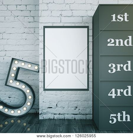 Star dressing room interior with blank picture frame and marquee light number 5. Brick wall and wooden floor. Mock up 3D Rendering