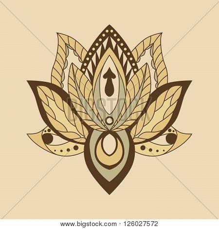 Lotus Mandala. Vector ornamental Lotus ethnic zentang. Ornamental Boho Style lotus Flower. Indian Lotus. Lotus Mehndi. Vector illustration. Yoga India arabic om