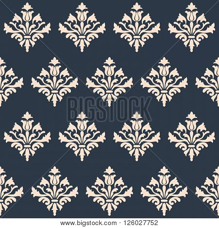 Seamless Renaissance wallpaper  on a gray background. Vector pattern.