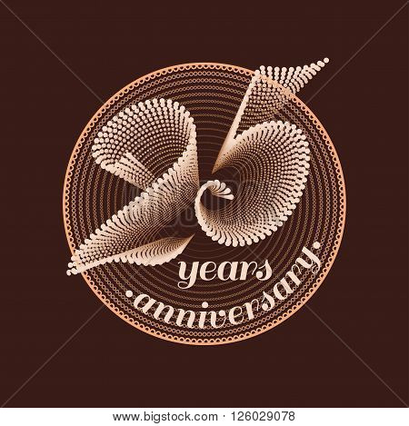 25 years anniversary vector icon. 25th celebration design. Golden jubilee symbol