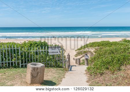 JEFFREYS BAY SOUTH AFRICA - FEBRUARY 28 2016: A beach scene in Jeffreys Bay in the Eastern Cape Province of South Africa