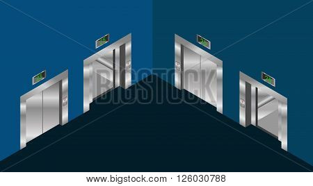 elevator isometric design set with closed and open doors