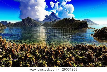 volcanic eruption on tropical island, 3d illustration