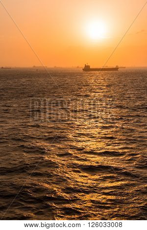 Off-shore sea anchorage of Fujayrah during sunset. ** Note: Soft Focus at 100%, best at smaller sizes