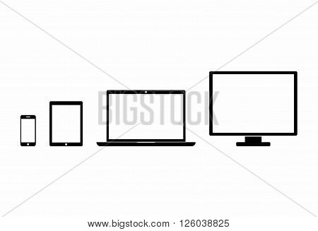 Device Icons: smartphone, tablet, laptop and desktop computer. Black device in flat style isolated on white background. Vector Illustration