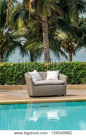 Outdoor indoor sofa chair with cushion and water resistant pillows
