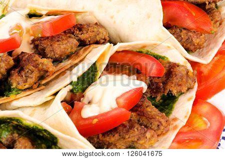 Image of Doner kebab closeup on white background