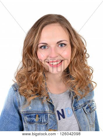 Close up portrait of a young woman smiling in jeans jacket isolated on the white background.