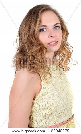 Young happy woman portrait Isolated on white.