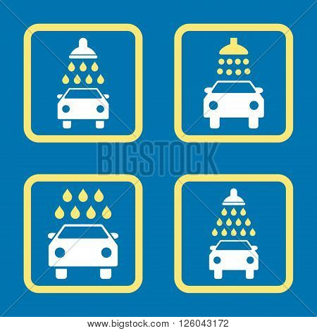 Carwash vector bicolor icon. Image style is a flat icon symbol inside a square rounded frame, yellow and white colors, blue background.