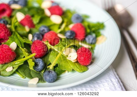 Image of Green Salad With Berries And Almonds