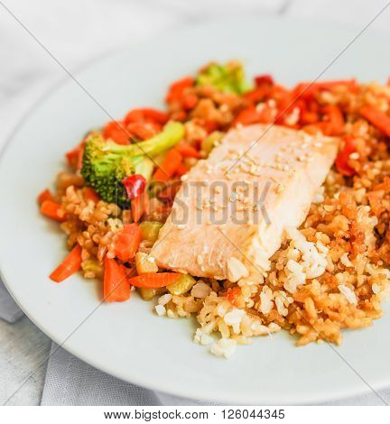 Image of Grilled Salmon With Quinoa And Vegetables