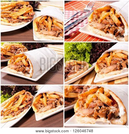 Prepared gyros ready to be served on rustic background