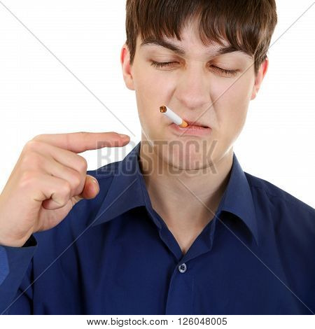 Displeased Teenager with Cigarette Isolated on the White Background