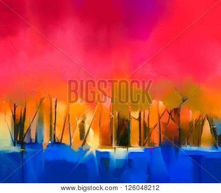 Abstract colorful oil painting landscape on canvas. Semi- abstract image of tree and red sky. Spring season nature background