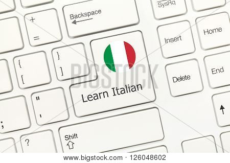 White Conceptual Keyboard - Learn Italian (key With National Flag)