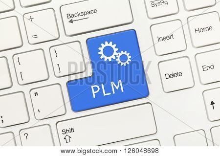 White Conceptual Keyboard - Plm (blue Key With Gear Symbol)