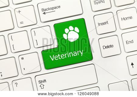 White Conceptual Keyboard - Veterinary (green Key With Dog Footprints Symbol)