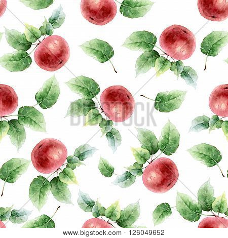 Seamless pattern of red apples with leaves. Watercolor illustration