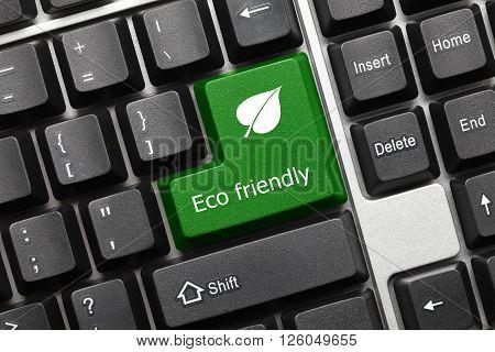 Conceptual Keyboard - Eco Friendly (green Key With Leaf Symbol)