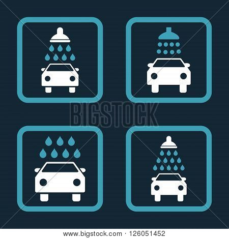 Carwash vector bicolor icon. Image style is a flat icon symbol inside a square rounded frame, blue and white colors, dark blue background.