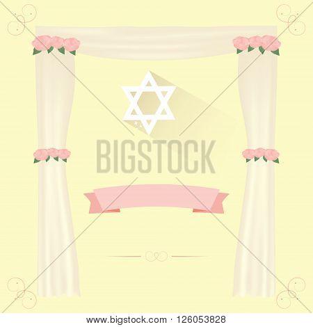 Jewish wedding elements for vector  invitation design.