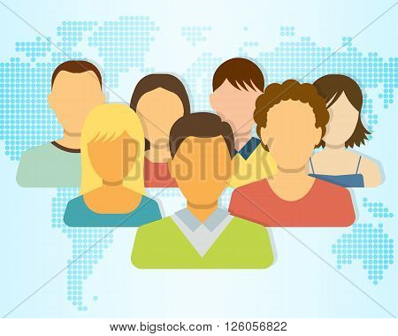 Set of People Icons with Earth Map on Background. Flat Style Modern Design. Vector Illustration