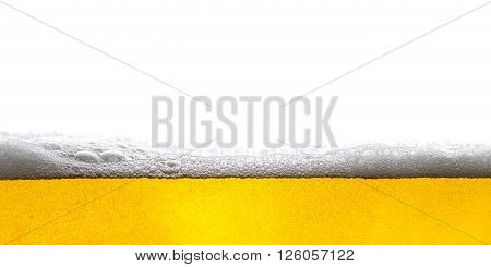 Beer Background Bubbles. Close Up of Beer Foam.