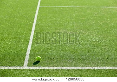 Soft Focus Of Tennis Ball On Tennis Grass Court Good For Background